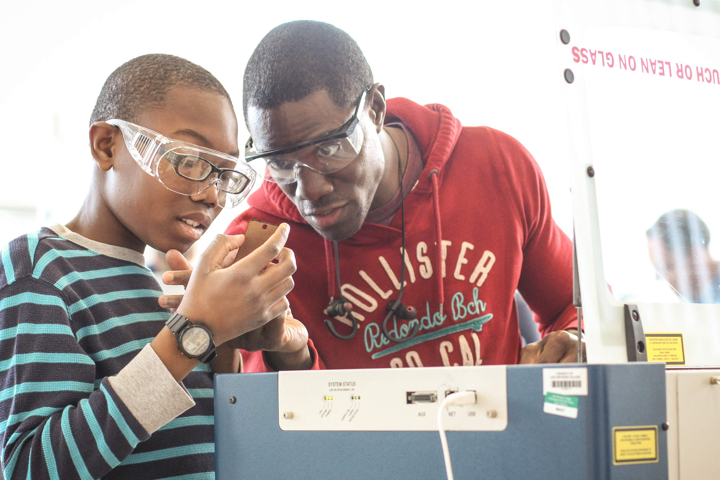 Father and Son working together at the LMC Fab Lab