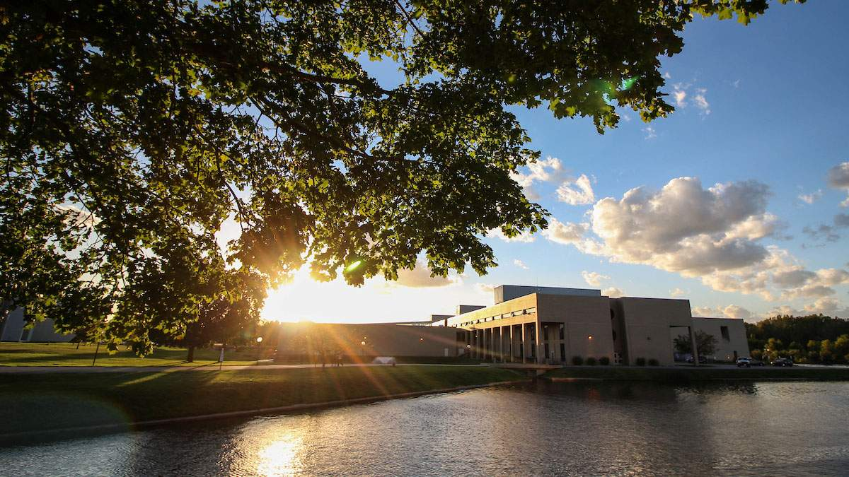 Benton Harbor campus at sunset