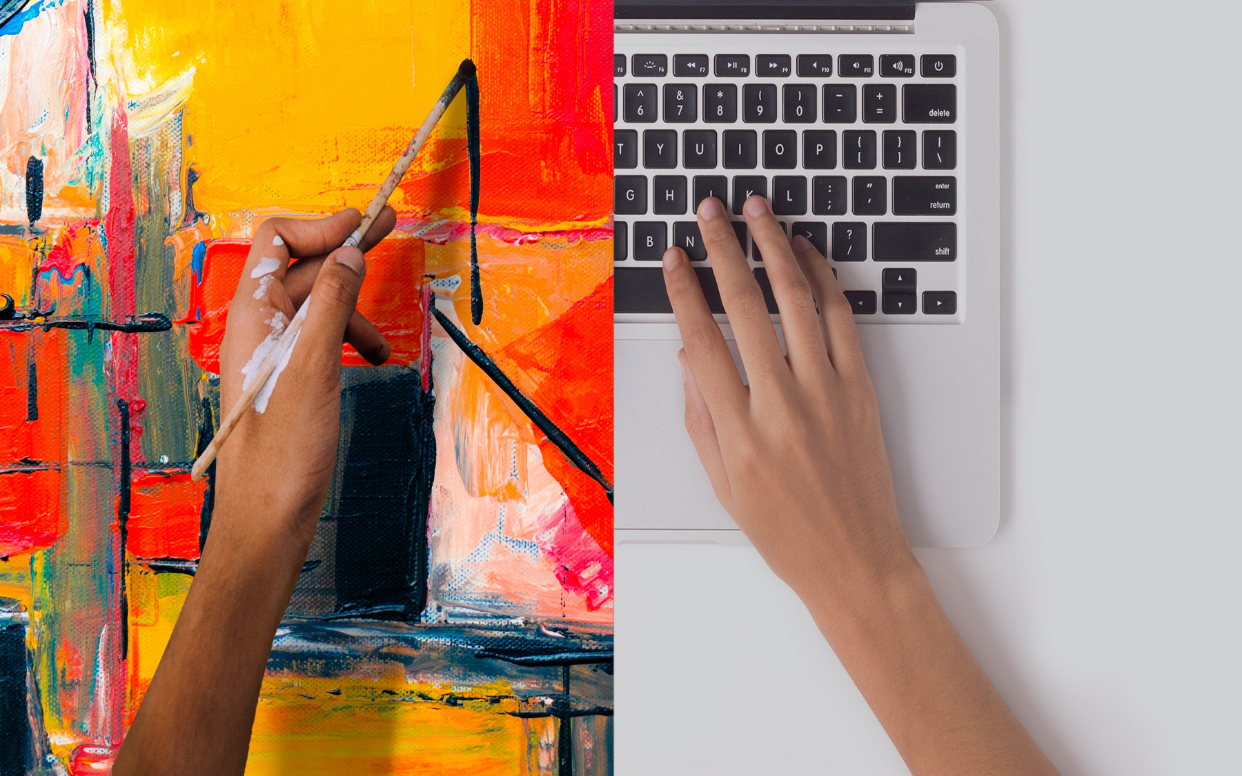 Split image with one person painting and one person typing on a laption.