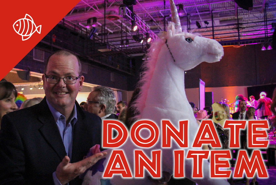 Donate an item graphic with a photo of an auction donor holding a large stuffed unicorn