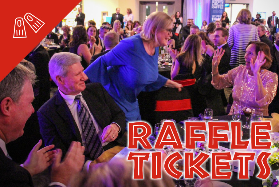 Raffle graphic with a photo of someone winning and table mates celebrating with her