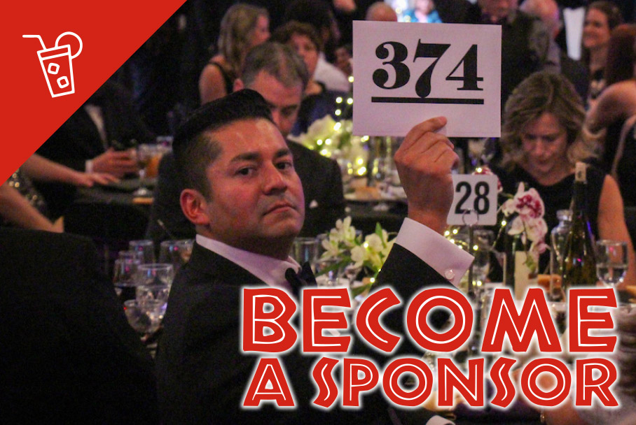 Become a sponsor graphic with a photo of an auction-goer bidding during the live auction