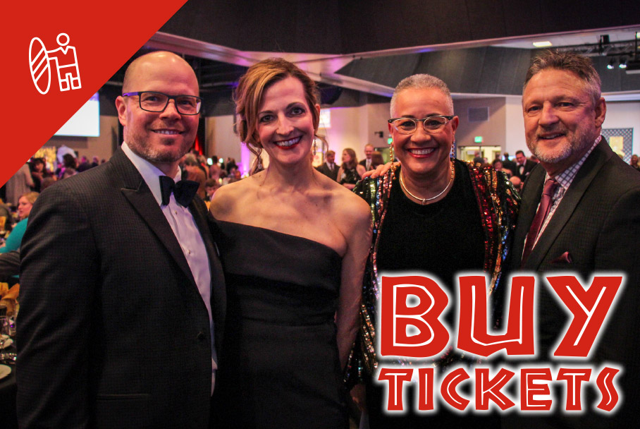 Buy tickets graphic with auction photo of four people in black tie