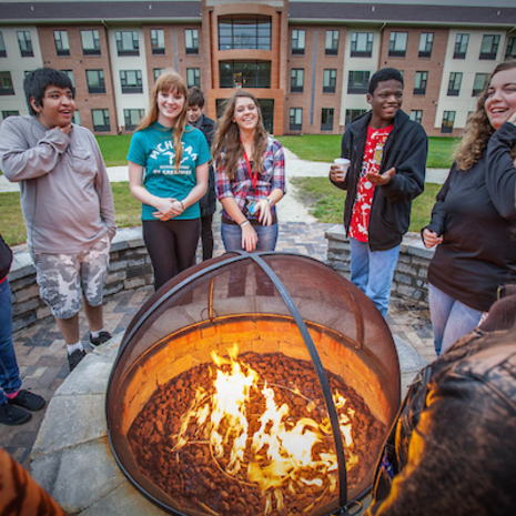 Students at the Beckwith Hall firepit