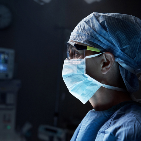 Man in a surgical mask.