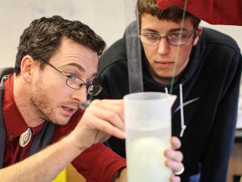 Teacher and student in Science lab