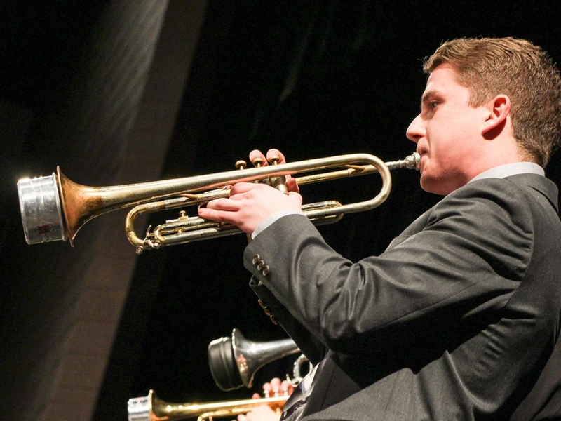 Student playing at Jazz concert