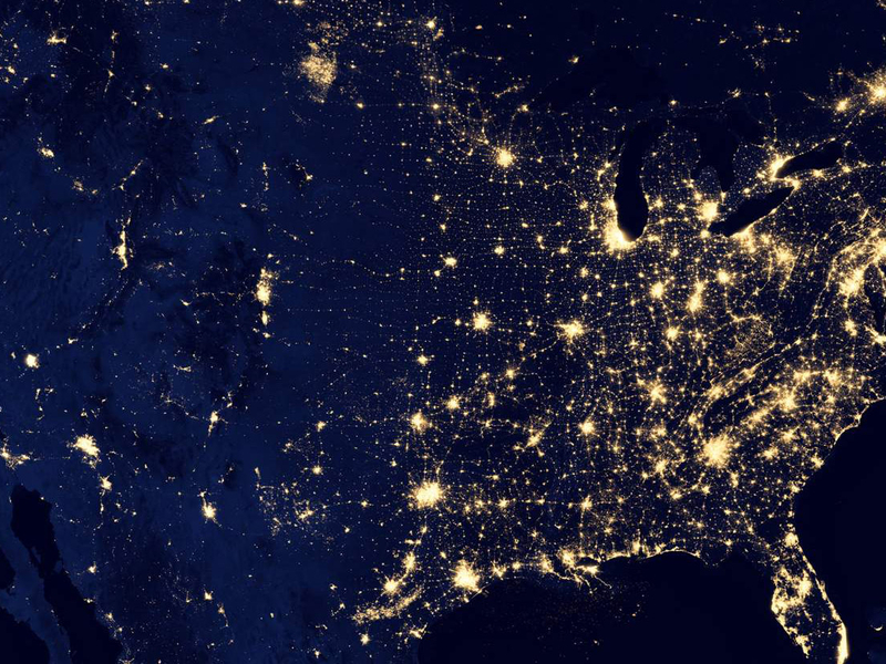 Satellite imagery of lights around the United States.