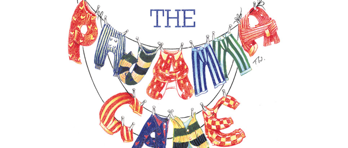 Pajama Game logo - the name of the play is spelled out in pajamas hanging on a laundry line.