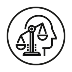 Person with scales of justice icon
