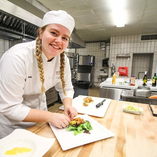 Culinary Student in Kitchen